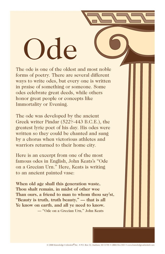 Ode Poetry Forms Poster